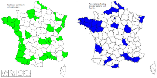Availability of specialized services and support for eating disorder sufferers in France in 2012. Source: AFDAS-TCA & FNA-TCA.